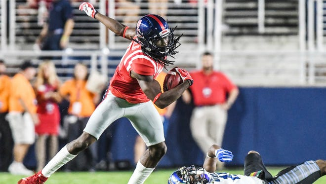 Ole Miss receiver Quincy Adeboyejo (8) caught four passes for 61 yards against Arkansas.