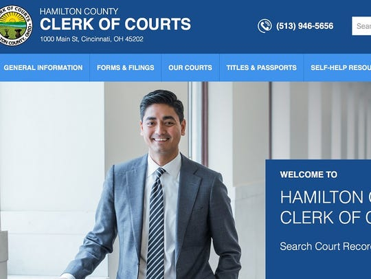 Screenshot of the Hamilton County Clerk of Courts'