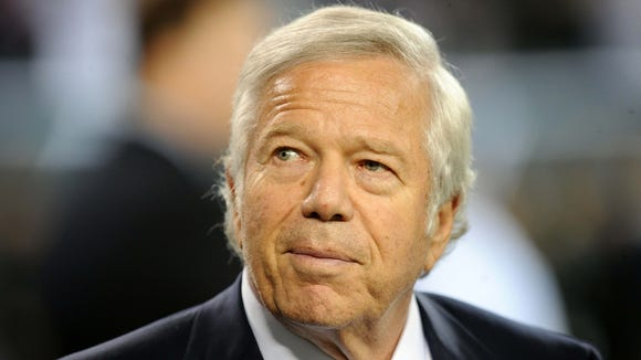 New England Patriots owner Bob Kraft before the game against the New York Jets at Metlife Stadium.