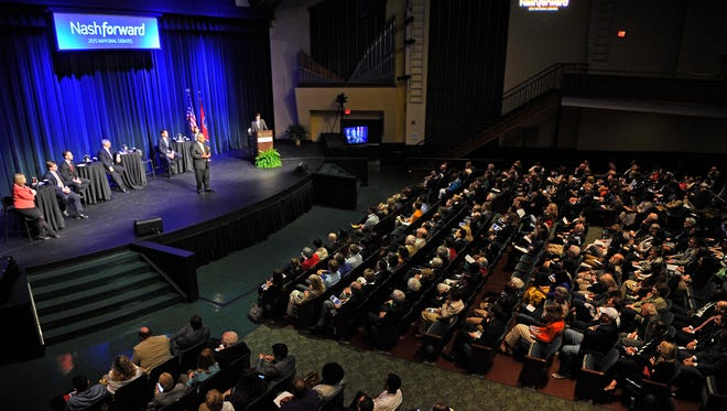 The crowd for the mayoral debate filled Massey Performing Arts Center on the Belmont campus.