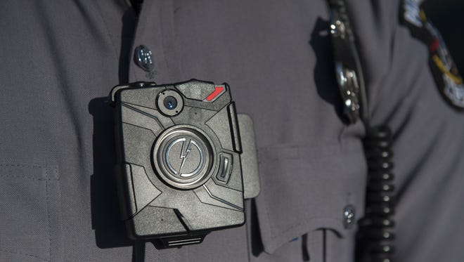 A Paulsboro police officer wears a body camera, like those Pitman police will soon have.