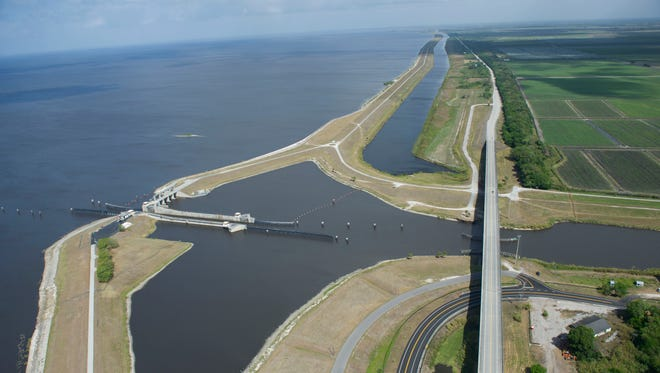 During discharges, Lake Okeechobee water flows through the Port Mayaca Lock and Dam, down the C-44 Canal and into the St. Lucie River; because of dry conditions, it's been flowing from the canal into the lake.