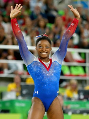 Simone Biles completes her floor exercise on Tuesday.