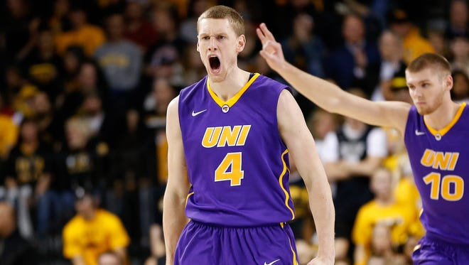 Paul Jesperson (4) is one of the seven Northern Iowa players who, behind Seth Tuttle and Wes Washpun, average between 4.5 and 7 points per game. The Panthers have jumped out to a 10-1 start, their only loss coming in overtime at Virginia Commonwealth.