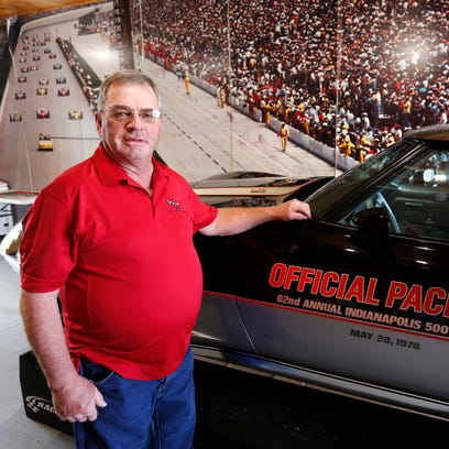 Tom Hetrick with his 1978 Corvette pace car Wednesday,