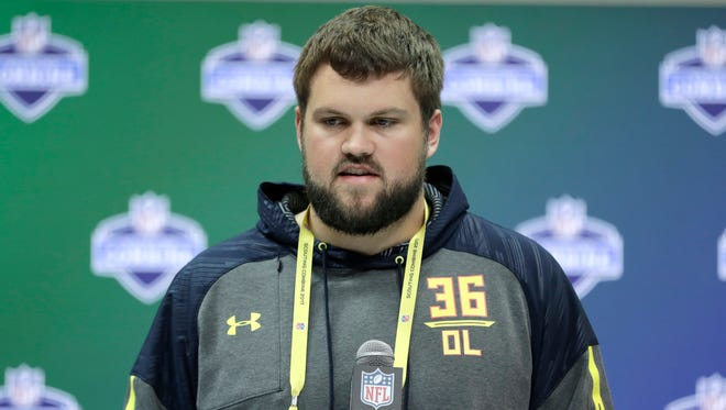 Wisconsin offensive lineman Ryan Ramczyk speaks during a news conference at the NFL scouting combine in March.