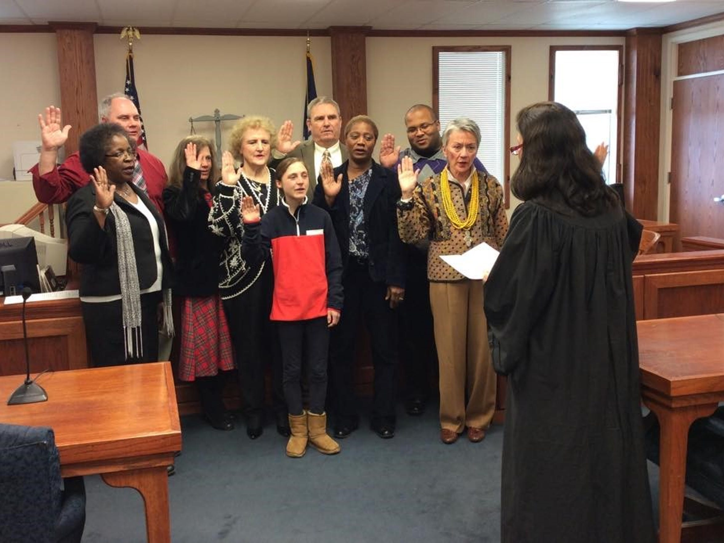 A group that started CASA training in January is sworn in on Feb. 5 by 9th Judicial District Judge Patricia Koch. Some of the same volunteers had been sworn in the day before in Avoyelles Parish.