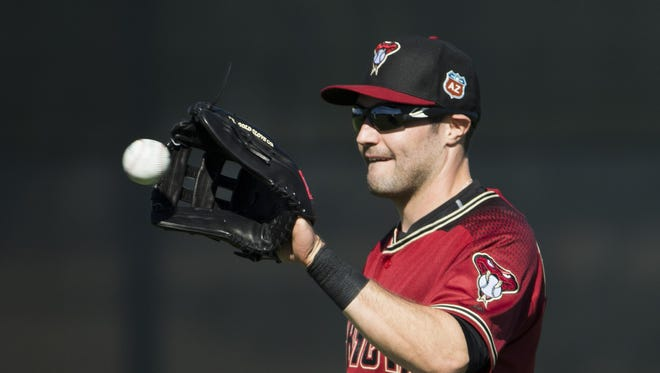 Diamondbacks' AJ Pollock performs some drills during the first full squad day of spring training at Salt River Fields at Talking Stick on Tuesday, February 23, 2016.