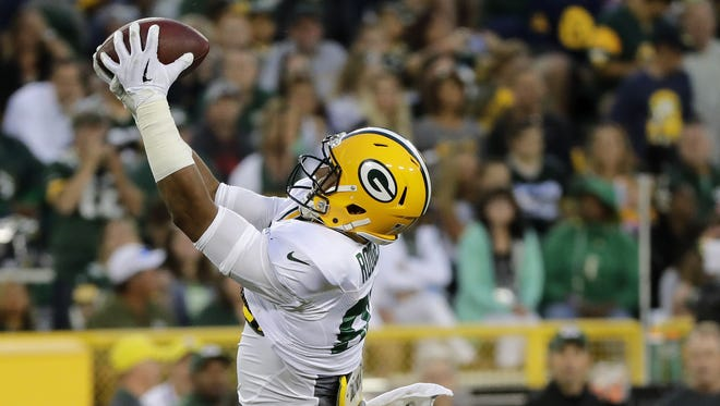 Green Bay Packers tight end Richard Rodgers catches a pass during Family Night at Lambeau Field.