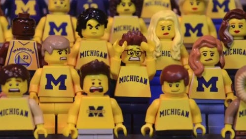LEGO Michigan fans show their distress over the end of the game.