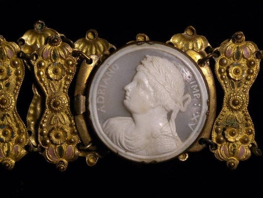 This bracelet with a cameo of the 15th Emperor of Rome