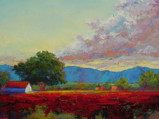 """A painting titled """"Cielo Vista,"""" by Jeri Desrochers. """"Cielo Vista"""" will be included in the exhibit Now and Then, part of For the Love of Art Month."""