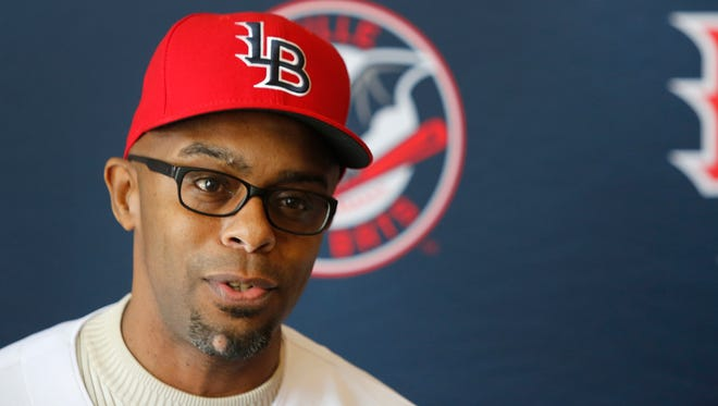 Louisville Bats manager Delino DeShields answered questions from the media. This is DeShields' second year of mangaing the minor league baseball club. Feb. 10, 2016.