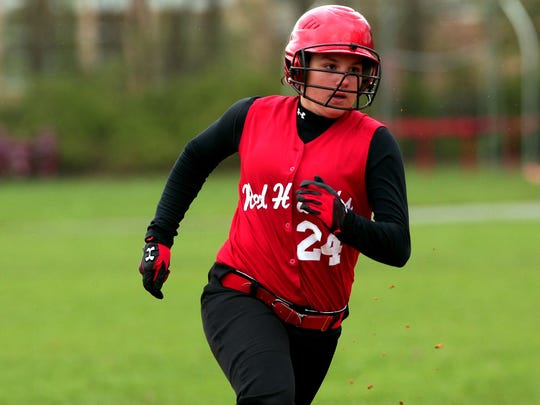 Parsippany's Megan Leitner rounds second base against