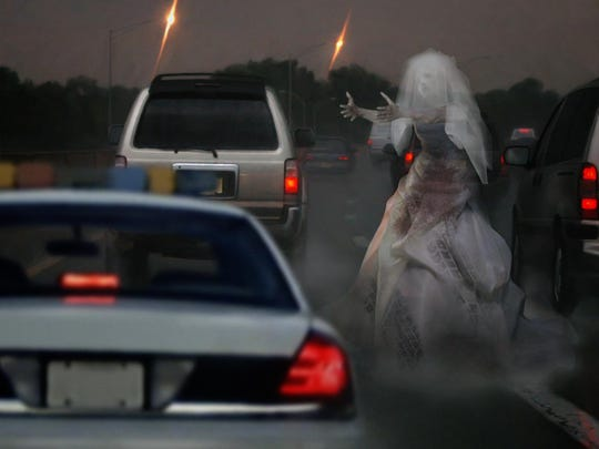 An illustration of the ghost bride some say they saw on Route 55 last week. Authorities, however, say they have debunked the claim.