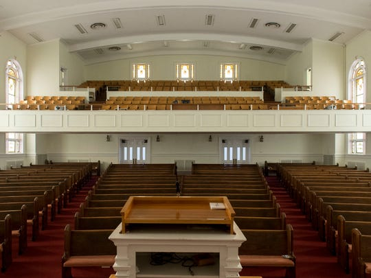 The worship hall at Fifth Ave. Baptist Church.