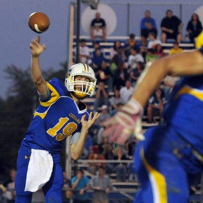 Greenfield-Central High School's Tyler Colclazier fires