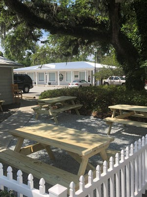 The new outdoor dining space at The Original Salt Works at 6301 Oleander Dr. in Wilmington.