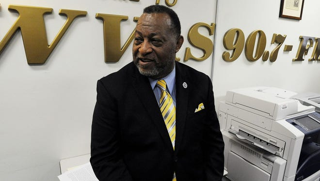 Alabama State University Board of Trustees Chairman Elton Dean at WVAS Radio Station on the ASU campus in Montgomer on Thursday.