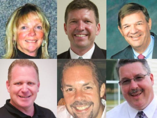 Hartland Schools Superintendent Janet Sifferman (top left) is the county's highest paid female public sector employee. But her superintendent colleagues including (clockwise) Erin MacGregor of Howell, Dan Danosky of LESA, Wayne Roedel of Fowlerville, Rick Todd of PInckney and Greg Gray of Brighton are all male.