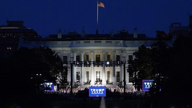 The White House stands ready for President Donald Trump to speak from the South Lawn of the White House on the fourth day of the Republican National Convention, Thursday evening, Aug. 27, 2020, in Washington.