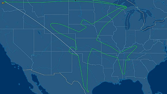 The aircraft's flight pattern recorded online via flight-tracking