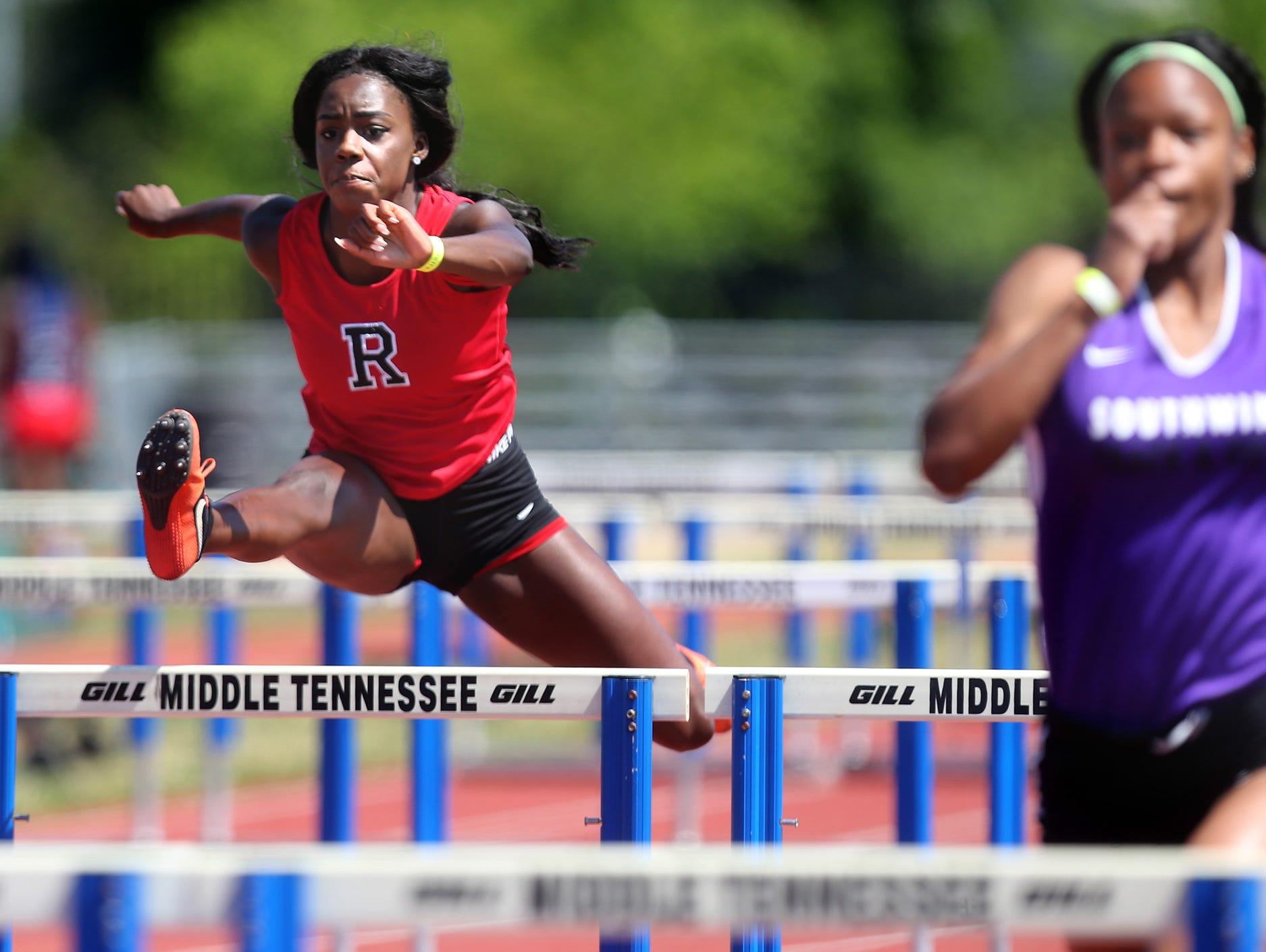Ravenwood's Amber Tanner jumps hurdles during the Spring Fling Girls Outdoor Pentathlon AAA on Monday, May 23, 2016.
