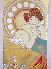"A replica of Alphonse Mucha's ""Topaz"" painted by Feist-Weiller"
