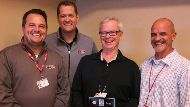 The Cincinnati Reds Public Relations team honored John Fay during Saturday afternoon's game against the New York Mets.