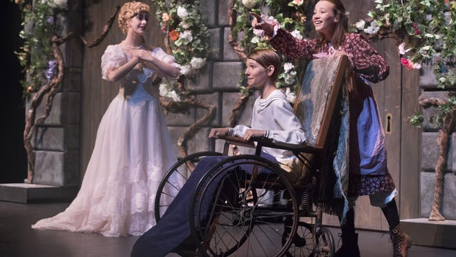 """Kaley McConnaughey, left, Josh Peters and Chloe Hunt rehearse a scene from Tulare County Office of Education's production of """"Secret Garden"""" at L.J. Williams Theater."""