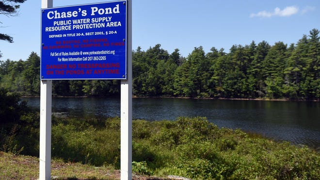 Chase's Pond in York is a public water supply resource and due to drought conditions, it's lower than usual.