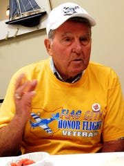 Harry Burroughs hosted a breakfast at a Clyde coffee shop for veterans who were interested in taking an Honor Flight to Washington D.C. in 2017.