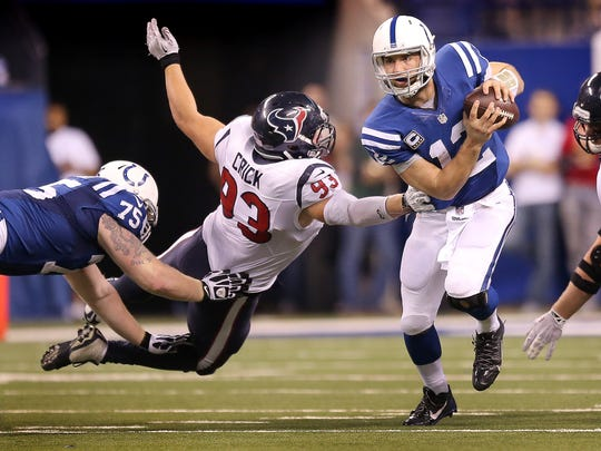 Uneven play by the offensive line has kept Andrew Luck under constant pressure.