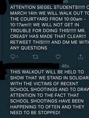 A social media post regarding a walkout at Siegel High