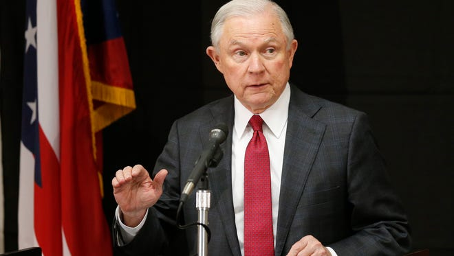 Attorney General Jeff Sessions is pictured speaking at the Columbus Police Academy.