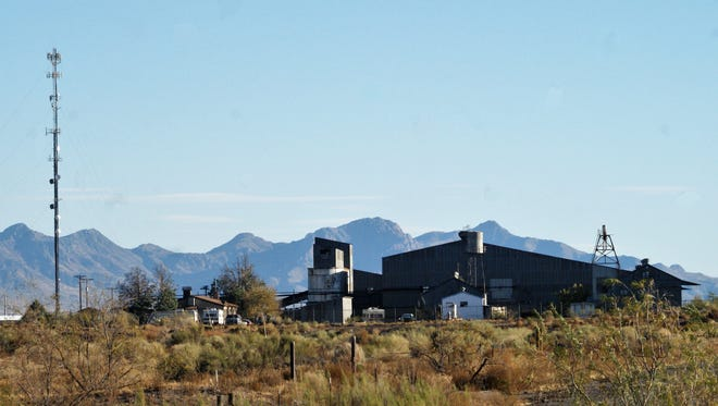 The ASARCO mill site sits on Peru Mill Road north of town, with the Florida Mountains in the background.