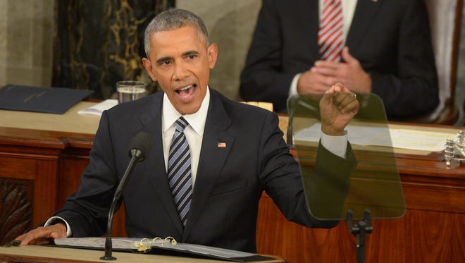 President Obama delivers the State of the Union address from the House chamber Jan. 12.