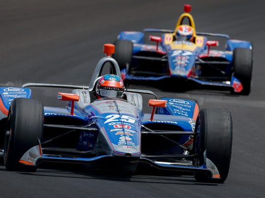 Andretti Autosport IndyCar driver Stefan Wilson (25) rounds turn 3 during practice for the Indianapolis 500 at the Indianapolis Motor Speedway on Thursday, May 17, 2018.