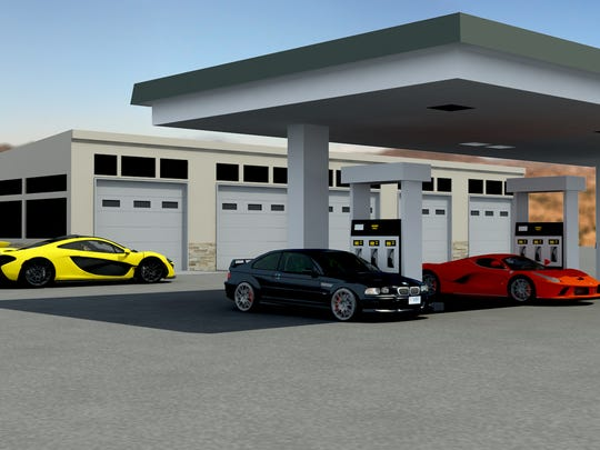 This artist's rendering shows what a fueling station and garage could look like at the proposed Apex Motor Club south of Phoenix in Maricopa.
