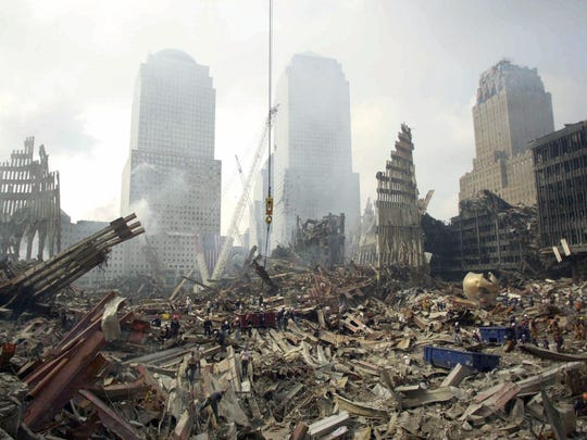 The wreckage that was once the World Trade Center complex