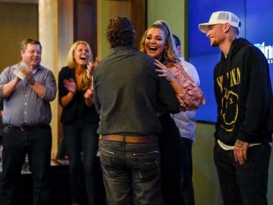 Lauren Alaina and Kane Brown are surprised by Lamar