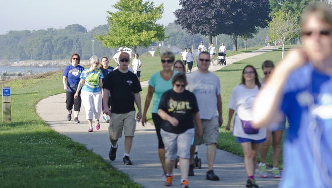 More than 70 people participated in the first Library to Library Fun Walk from the Manitowoc Public Library to the Lester Public Library in Two Rivers in 2015.