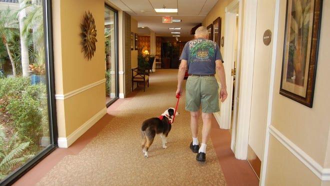 Jack and Roger Wieland walk the halls of Gulf Coast Village five days a week.
