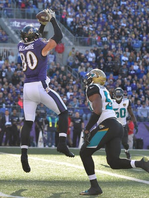 Baltimore Ravens tight end Crockett Gillmore, a former CSU standout, catches a touchdown pass during a Nov. 15, 2015, game against the Jacksonville Jaguars. Gillmore is returning to CSU this weekend to receiver his bachelor's degree.