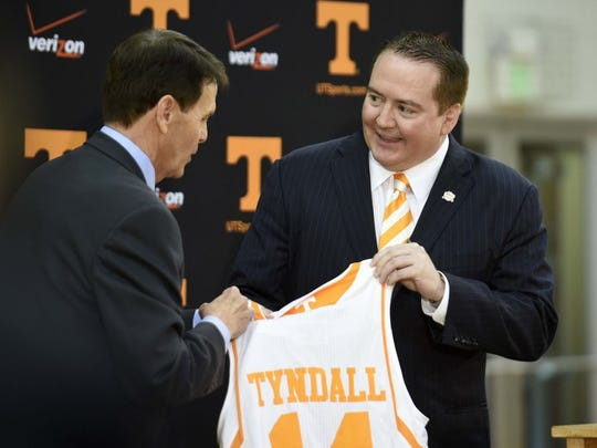 Donnie Tyndall is introduced as the new University of Tennessee head basketball coach by athletics director Dave Hart during a press conference at Pratt Pavilion, Tuesday, April 22, 2014. Tyndall was formerly the coach at Southern Mississippi.