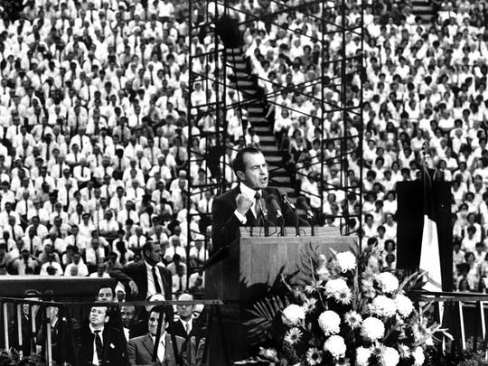 University of Tennessee Libraries In a May 28, 1970, photograph, President Richard Nixon delivers a speech during the Billy Graham East Tennessee Crusade at Neyland Stadium. It was Nixon's first appearance at a college campus since the Kent State shootings earlier in the month.