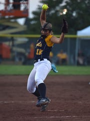 Sarah Lehman of Iowa City Regina pitches against Eddyville during the Class 2A championship game on Friday, July 21, 2017.