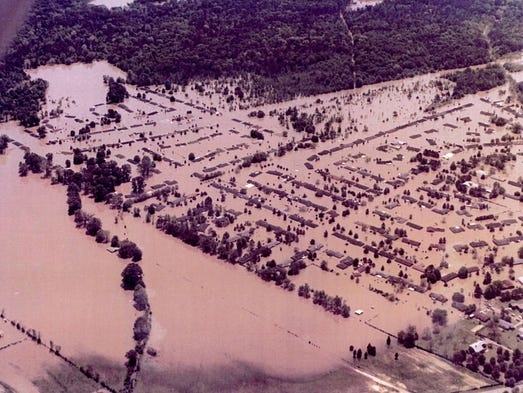 Hundreds of homes in northeast Jackson were underwater or had water in them from the Easter Flood in April 1979.