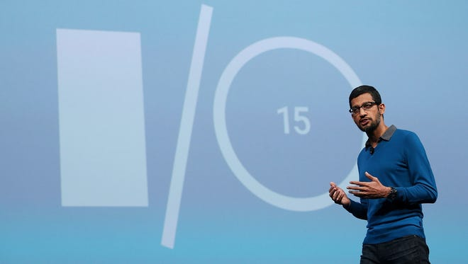 Google senior vice president of product Sundar Pichai delivers the keynote address during the 2015 Google I/O conference on May 28, 2015, in San Francisco, Calif.
