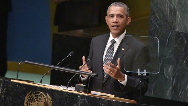 President Obama speaks before the United Nations on Sunday.